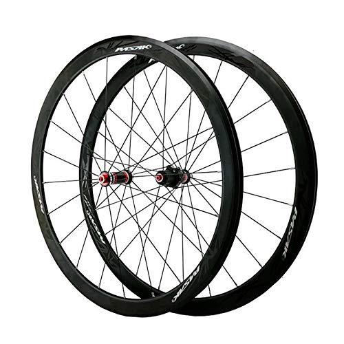 Juego Ruedas Bicicleta Carretera 700 Cubo Fibra Carbono Llantas Aleación Doble Pared Delanteras Traseras Rodamiento Sellado C/V QR 7-11 Velocidad (Color : A)