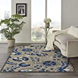Nourison Aloha Indoor/Outdoor Floral Natural/Blue 5'3' x 7'5' Area Rug (5' x 8'), 5'3'X7'5',