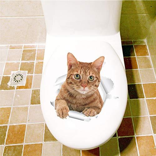 SPFOZ Haus Dekoration Vivid 3D-Loch-Katze-Hundetier WC-Aufkleber Hauptdekoration DIY Wc Washroom PVC Poster Kätzchen Welpen-Karikatur-Wand-Kunst-Abziehbilder (Color : 8 14197)