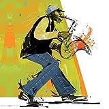 Feeling at home Imagen sobre Lienzo con Caja Americana El Jugador de saxofón Johnson Impresion enmarcada con Marco Figurativo Cuadrado 61_X_61cm