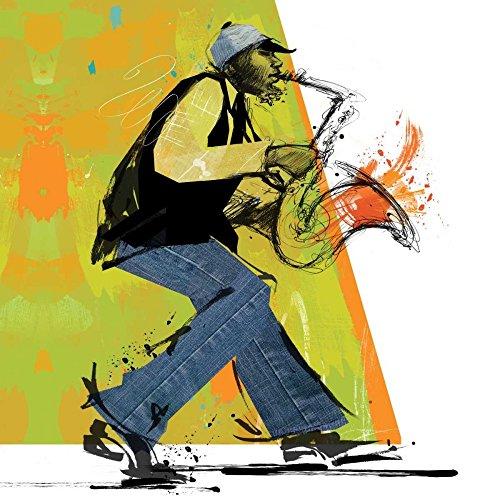 AFDRUKKEN-op-GEROLDE-CANVAS-Speler-van-de-saxofoon-Johnson-Cathy-figuurlijk-Afbeelding-gedruckt-op-canvas-100%-katoen-Opgerolde-canvas-print-Kunstdruk-op-g-Afmeting-56_X_56_cm