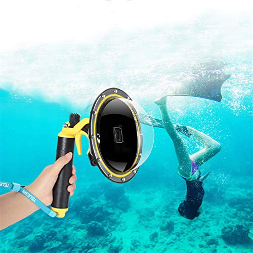 Für GoPro Dome Port Wasserdichtes Gehäuse GoPro Hero Schwarz Weiß Silber, GoPro Zubehör mit Abzugswaffe und schwebender Griff Unterwasser-Kuppel.
