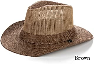 LPKH Visor Hat Beach Sun Protection UV Sun Hat Fishing Cap Breathable Mesh with Chin Band hat (Color : Brown)