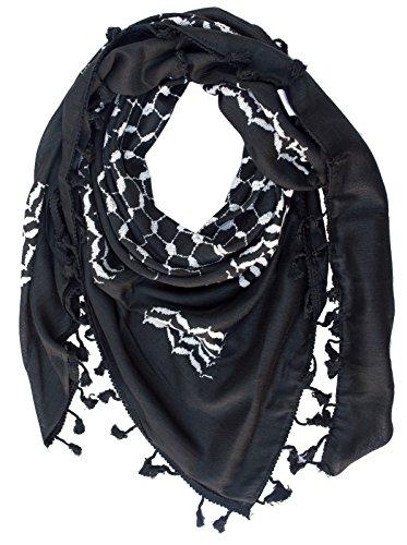 Hirbawi Premium Arabic Scarf 100% Cotton Shemagh Keffiyeh 47x47 Arab Scarf (White on Black)