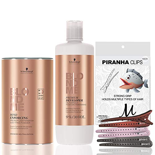 Schwarzkopf BlondMe Premium Lightener 9+ Dust Free Powder Bleach 450 grams, Schwarzkopf BlondMe Premium Developer 9% / 30 Volume 1 Liter, M Hair Designs Piranha Clips (Bundle - 3 items)