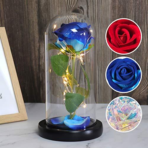 青いバラ ガラス ドーム 出産祝い 結婚祝い 美女と野獣 バラ ライト ソープフラワー 誕生日プレゼント女性 人気 母の日のプレゼント 造花 美女と野獣のバラキット LEDライト付きのガラスのドームで永遠に続く青いシルクローズ 教師の日 母の日ギフトバレン
