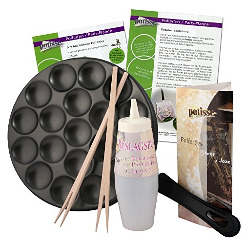 Patisse Poffertjes Pan Ensemble de Recettes, Bouteille de Pâte et Bâtonnets en Bois, Aluminium, Noir, 25 cm, 6 Composants