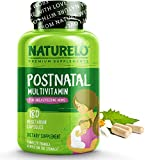 8. NATURELO Post Natal Multivitamin - Whole Food Postnatal Supplement for Breastfeeding Women - Organic Herbs - Vitamin D, Folate, Calcium - for Nursing Mother, Baby - 180 Caps