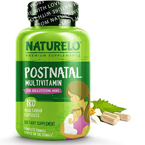 NATURELO Post Natal Multivitamin - Vegan Postnatal Supplement for Breastfeeding Women with Organic Herbs, Plant-Based Vitamin D & Calcium, Active Folate - for Nursing Mother, Baby - 180 Caps