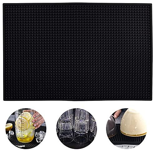 CENRONG Tapis de Bar ,45 * 30 cm Tapis égouttoir Vaisselle Silicone Noir pour Les Comptoirs De Restaurant De Cuisine De Bar à Café