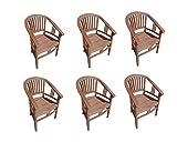 SAM Möbel Outlet 6er Spar-Set Gartenstuhl Sessel aus Teak Holz mit Armlehnen Moreno