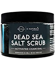 Dead Sea Salt Activated Charcoal Scrub Extreme Pore Cleansing Exfoliating Face & Body Hydrates Detoxifies Anti Cellulite Minimize Pores Treats Acne Blackheads Oily Skin Ingrown Hair Men & Women 500gr