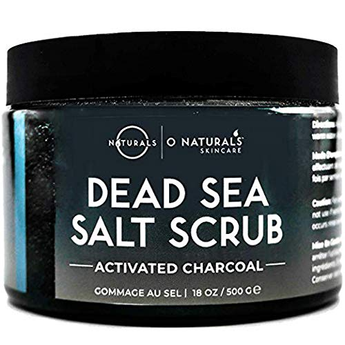 O Naturals Mens Exfoliating Activated Charcoal Dead Sea Salt Scrub, for Face Body & Foot. Anti-Aging Mens Skin Care Routine. Blackhead & Acne Treatment Pore Minimizer Ultra Hydrating Organic Oils 18oz