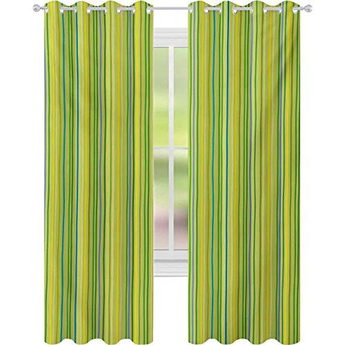 Cortinas opacas estampadas, bandas verticales en tonos pastel a rayas, figuras geométricas de impresión suave, cortinas de 52 x 95 para dormitorio, verde pálido y amarillo