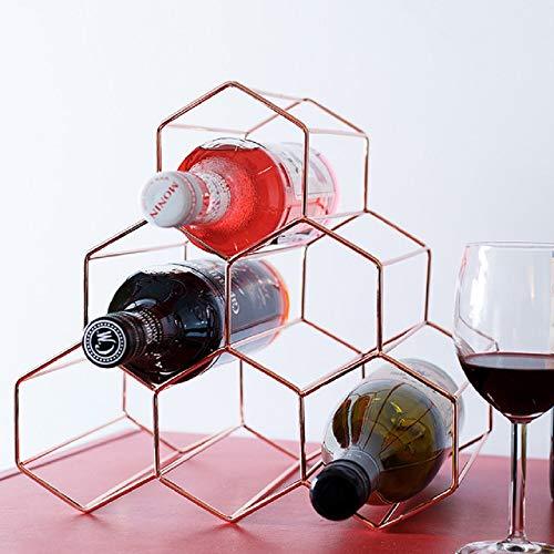 KDI Wohnzimmer kreative Weinschrank Displayständer Waben Bar Theke Dekoration Ornamente goldenen Eisen Weinregal (Roségold)