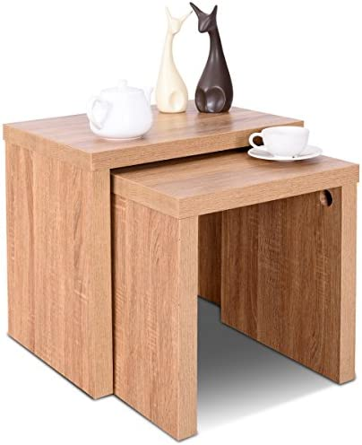 Best Giantex Set of 2 Nesting End Tables Accent Wood Color Home Decor Casual Style Living Room Furniture