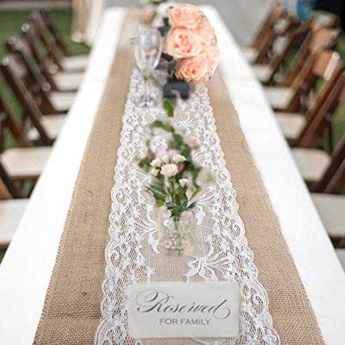 bennyuesdfd Jute Tischläufer Rustic Burlap Spitze Hessischen Land für Hochzeit Festival-Ereignis Tischdekoration 30 x 275cm (1 Stück)