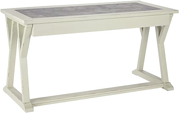 Ashley Furniture Signature Design Jonileene Home Office Large Desk 3 Drawers Distressed White Finish Faux Cement Top Dark Gray Hardware