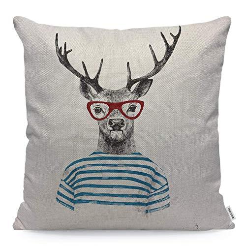 Funda de almohada con diseño de ciervo con gafas rojas y animales disfrazados de estilo hipster,divertida y moderna,funda de almohada cuadrada,funda de cojín para el hogar,coche,cocina 18 x 18