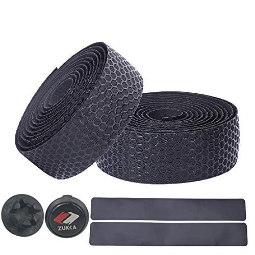 ZUKKA 自転車バーテープ ロードバイクバーテープ (エンドプラグ付き) 2本セット-黒