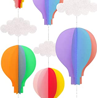 AZOWA Big Size Hot Air Balloon Decorations Rainbow Color Paper Hanging Garlands for Baby Shower Birthday Party