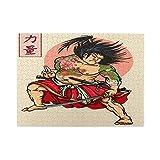 Rompecabezas de 500 piezas,estilo de tatuaje de héroe samurái japonés que dibuja las palabras kanji japonesas que significan fuerza,juego de rompecabezas para familias numerosas