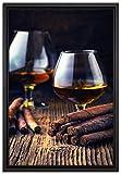 Pixxprint Whisky mit Zigarre Leinwandbild 60x40 cm im