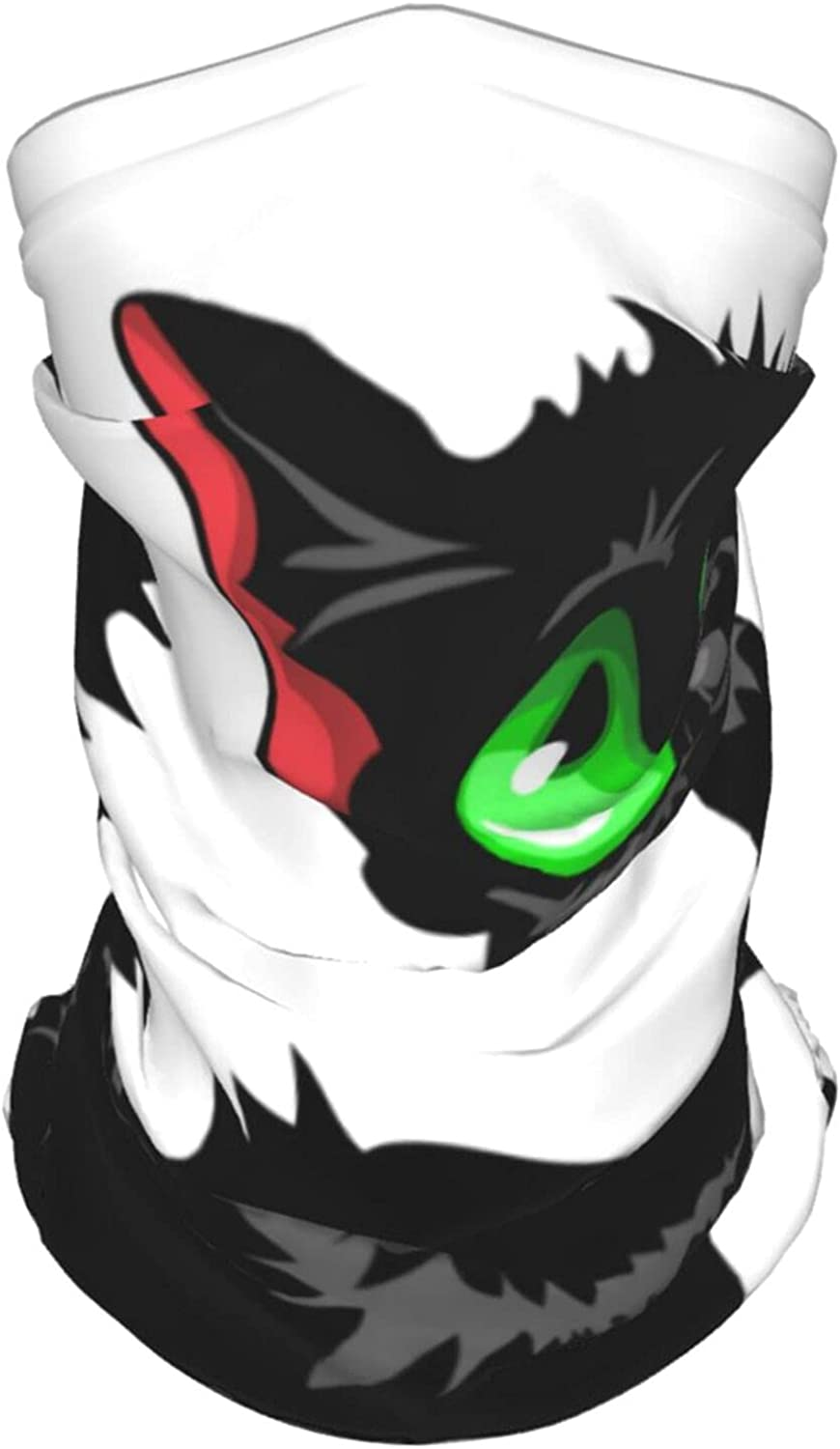 Funny Sly Black Cat with Green Eyes Summer Ice Silk Breathable Face Mask Neck Gaiter Scarf Bandanas for Fishing,Hiking,Running,Motorcycle and Daily Wear