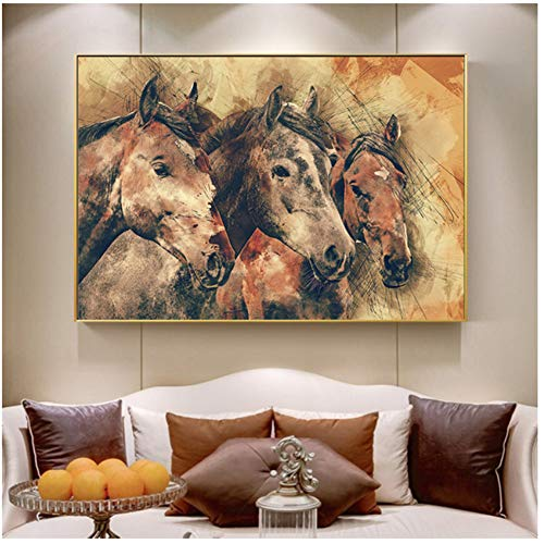 Running Horse Canvas Art Animal Wall Art Poster Pictures voor Woonkamer Home Decor Muur Canvas Schilderij