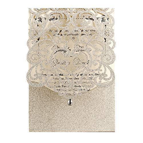 WISHMADE 20x Glitzernde Hochzeitseinladungen mit Strasssteinen, hohle Spitze, Blumen-Einladungskarten für Brautparty, 20 Stück inkl Umschläge (Silber Glitzer)