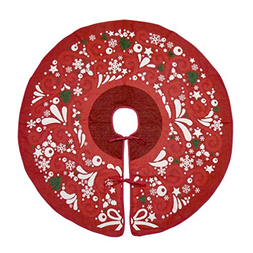 "Primode Red Xmas Tree Skirt 50"", Jacquard Stitched Woven in Holiday Images, Holiday Tree Ornament Decoration"