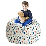 LAZY CALA LIFE Stuffed Animal Bean Bag Storage,Toy Organizers and Storage,Extra Large Stuff 'n Sit Organization for Kids,Boys and Girls,100% Cotton Premium Canvas(Yellow Ripple,27')
