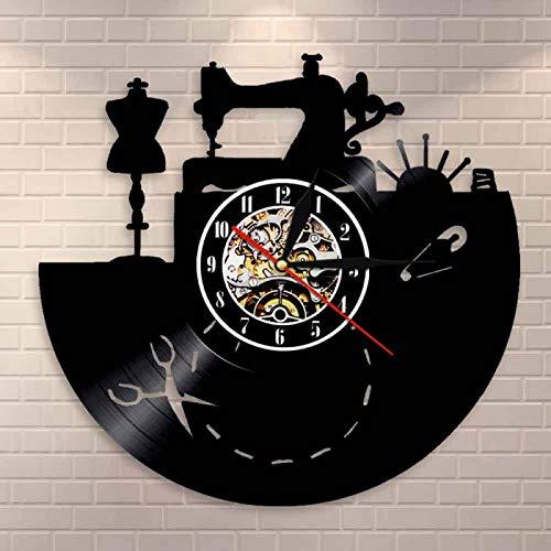 YINU máquina de Coser Reloj de Pared Arte diseño de Costura Reloj de Vinilo Regalos para costureras sastres Tienda de Moda artesanía decoración de Pared de habitación
