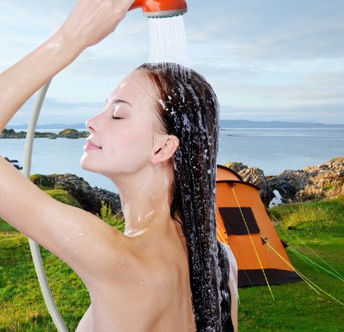 Ivation Portable Outdoor Shower, Battery Powered – Compact Handheld Rechargeable Camping Showerhead – Pumps Water from Bucket Into Steady, Gentle Shower Stream