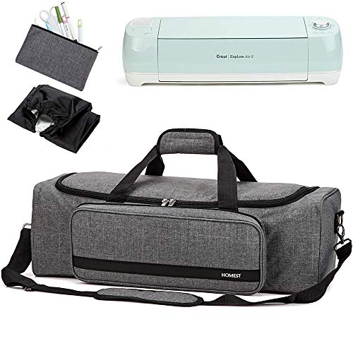HOMEST Carrying Case with Large Pocket, Compatible with Cricut Explore Air 2, Cricut Maker, Silhouette CAME03, Grey (Patent Design)