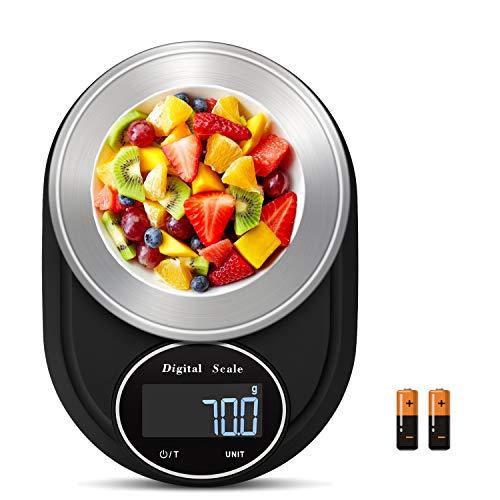MARTINUS YANG Bilancia Cucina Digitale, Bilancia Pesa Alimenti 5kg Bilancia Cucina Precisione Multifunzionale g/kg/lb/oz/tl/ml Display LCD Acciaio