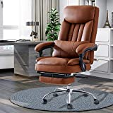 High Back Office Chair with Lumbar Support and Footrest, Leather Executive Computer Desk Chair with Padded Headrest and Armrest, Adjustable Height Tilt Angle Swivel Task Chair for Home Office (Brown)