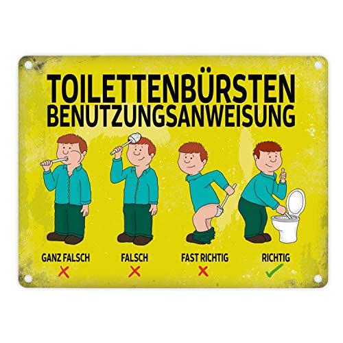 trendaffe - Metallschild mit Spruch: Toilettenbürstenbenutzungsanweisung