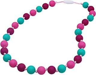 Sensory Oral Motor Aids Chew Necklace for Girls Kids, Silicone Rosary Beads Chewy Jewelry for Autism, ADHD or Special Needs - Reduces Chewing Biting Fidgeting for Mild Chewers
