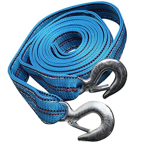 FAVOMOTO Winde Gurt mit Haken Anhänger Seil 5 Tonnen Schlepptau Seil 4 Meter Winde Seil Notfall Seil für Abschleppen Fahrzeuge Boote Und Jet Ski Blau