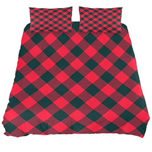 JlOn Microfiber Duvet Cover Set Zipper Closure Christmas Plaid 2pcs Bedding Set Full Soft and Breathable