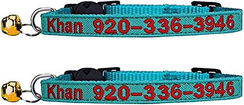 TaiHong Katzen-Halsband, personalisierbar, mit Glöckchen und besticktem ID, Name und Telefonnummer (2 PCS)
