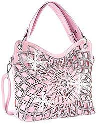 Pink Double Handle Starburst Bling Handbag
