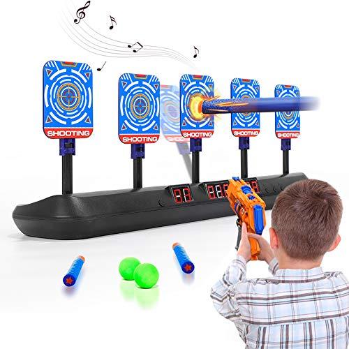 HahaGo Objetivo Digital Eléctrico para Pistolas de Juguete, Objetivos de Disparo con reinicio Automático con luz y Sonido, Puntuación Automática para Juguetes de de Práctica de Disparos (5 Objetivos)