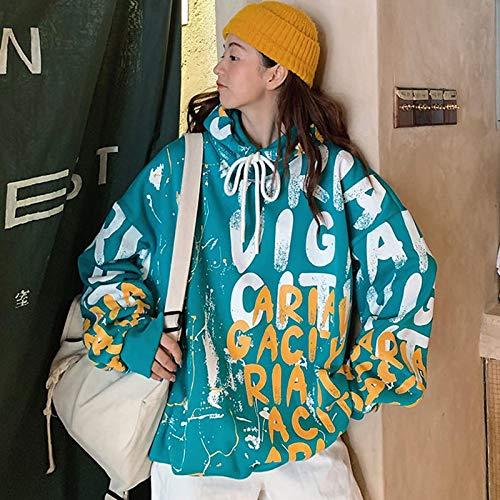 Sweatshirt Hoodie Femmes Sweat Streetwear Hoodies Pulls Nouvelle Mode Automne Et Hiver À Capuche Filles Lâche Manteau Coréen M Vert
