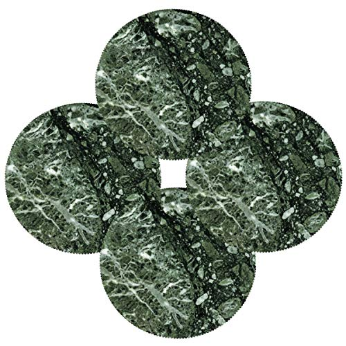 N\O Green Marble Round Placemat, Set of 4, 15 inch Eco-Friendly Polyester Fabric Machine Washable Indoor & Outdoor Tablemats