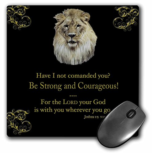 """3dRose LLC 8 x 8 x 0.25 Inches Mouse Pad, Joshua 1 Verse 9""""Be Strong and Courageous"""" Lion in Gold on Black (mp_42588_1)"""