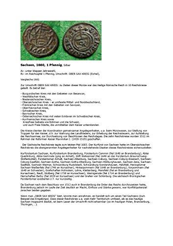 Kalenderblatt zum Jahr 1660: Reichskreise im Heiligen Römischen Reich (Ein Pfennig Sachsen von 1660 des obersächsischen Reichskreises und die Erläuterung der Reichskreise)