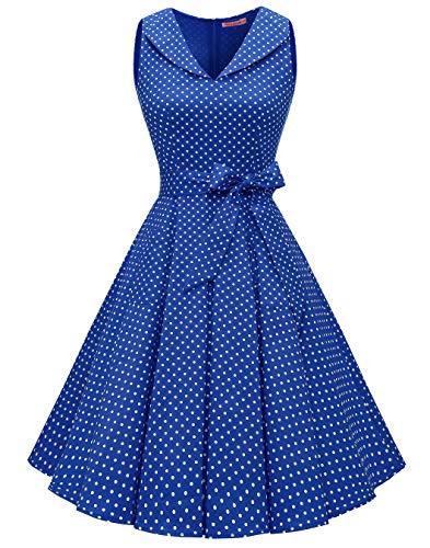 BeryLove Damen 1950er Vintage Kleid Cocktailkleid mit Tasche Ärmellos Elegant Retro Schwingen Kleider Faltenrock BLV8020 RoyalSWhiteDot XS
