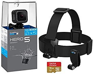 Go Pro HERO 5 Session 4K Action Camera Holiday Bundle with Head Strap and QuickClip, SanDisk Extreme 16GB SD Card